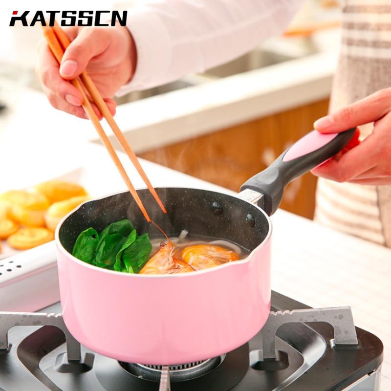 16cm Small Milk Pot Non-stick Health Smokeless Frying Egg/steak Pot Baby Food Supplement Pot Induction Cooker Universal 249