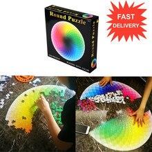 1000 Rainbow Rodada Geométrica pçs/set Jigsaw Foto Reduzir O Estresse Jigsaw Puzzles Brinquedos Para Adultos Crianças DIY Educacional Brinquedo de Papel