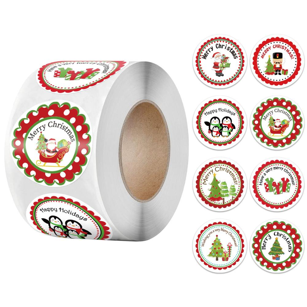 500pcs/Roll Christmas Sticker For Gift Decor Gift DIY Envelope Wrapping Decorations Scrapbooking Stickers Xmas Decorations-0