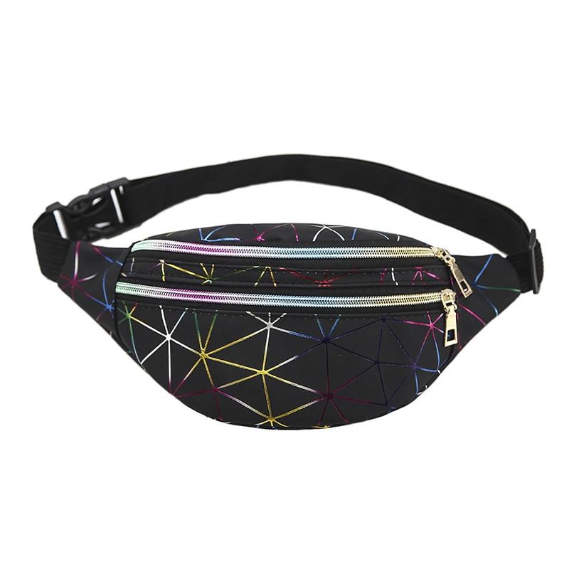 Holographic Waist Bags Unisex Fanny Pack Female Belt Bag Geometric Waist Packs Laser Phone Pouch Sports Multi-layer Chest Bag