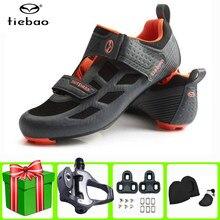 Tiebao-zapatos de ciclismo de carretera ultraligeros con autosujeción, transpirables, profesionales, para hombre y mujer