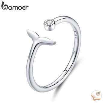 bamoer 925 Sterling Silver 2 Color Fish Tail Mermaid Open Finger Rings for Women Adjustable Band Free Size Bijoux SCR618 - discount item  46% OFF Fine Jewelry