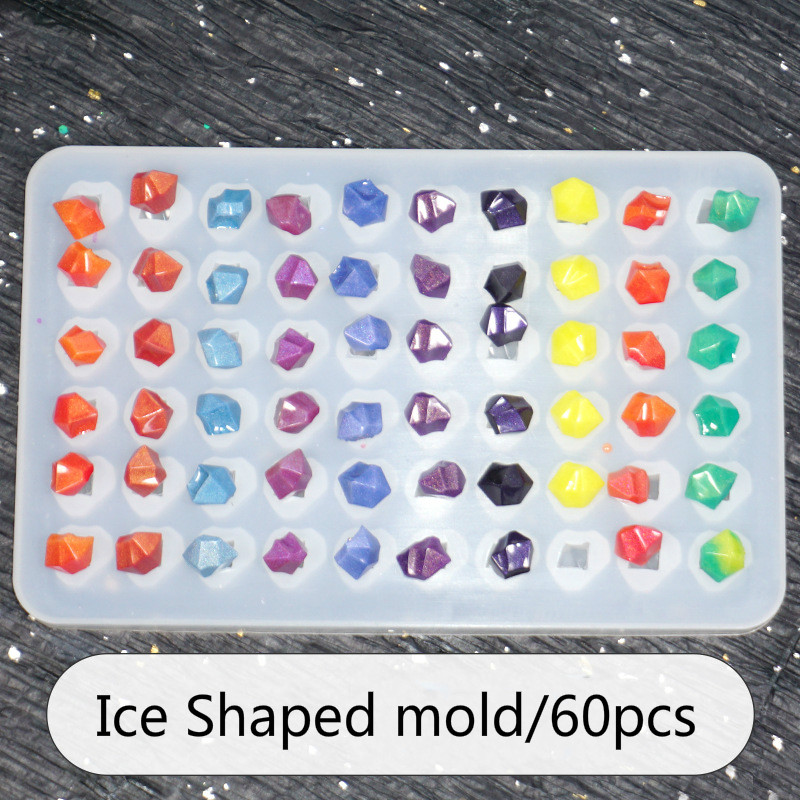 Ice Cube Diamond Shaped Beading UV Epoxy Resin Silicone Molds 60pcs Jewelry Tool Jewelry Mold  For Making Jewelry Uv Resin Hard