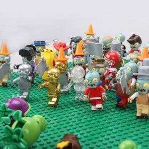 Image 4 - 20 PCS Plants vs Zombies Figures Building Blocks PVZ Action Figures Dolls Game Brick Toys For Children Collection Toys For Adult