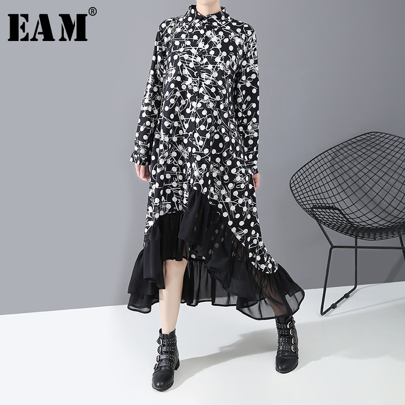 [EAM] Women Black Dot Print Chiffon Asymmetrical Shirt Dress New Lapel Long Sleeve Loose Fit Fashion Spring Autumn 2020 1R366
