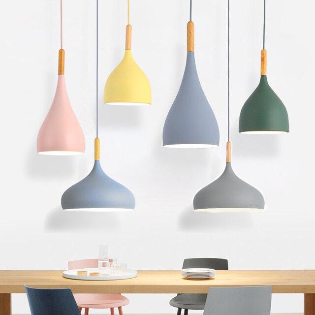 Luces colgantes de Lustre multicolor iluminación colgante de madera para restaurante, accesorios de iluminación de cocina, lámpara LED moderna para Loft E27