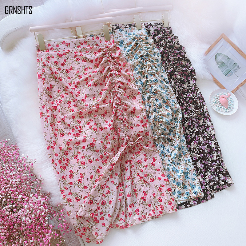Summer Bohemian Print Elegant Charming Small Floral Chiffon Skirt Drawstring Pleated Split High Waist Bag Hip Mid-length Skirts