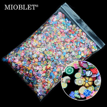 1000pcs/pack Nail Art Fruit Flowers Feather DIY Design Slices Decoration Acrylic Beauty Polymer Clay Nail Sticker Tool