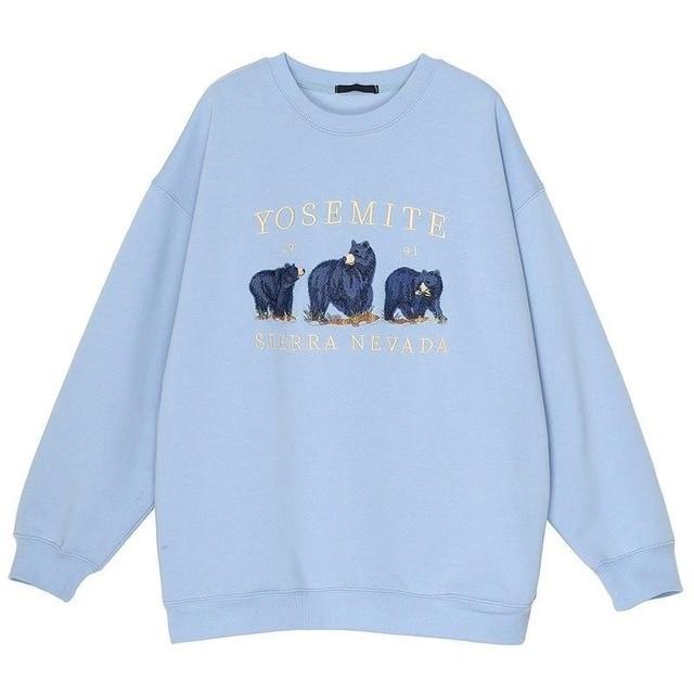 Vintage Bear Embroidery Sweatshirts Hoodies Women Harajuku Streetwear Casual Long Sleeve Crewneck Oversized Fashion Hoodie Woman 6