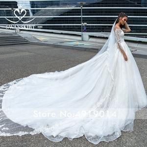 Image 3 - Swanskirt Appliques Hochzeit Kleid 2020 Langarm Spitze up Ballkleid Kapelle Zug Prinzessin Braut Kleid F117 Vestido de Noiva