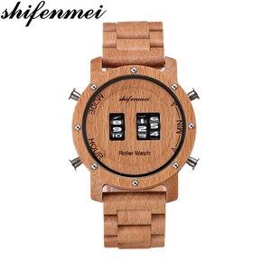 Image 1 - Digital Watch for Men Shifenmei Wood Watches Roll Military Electronic Wheel Timepieces Luxury Wristwatch Clock erkek kol saati