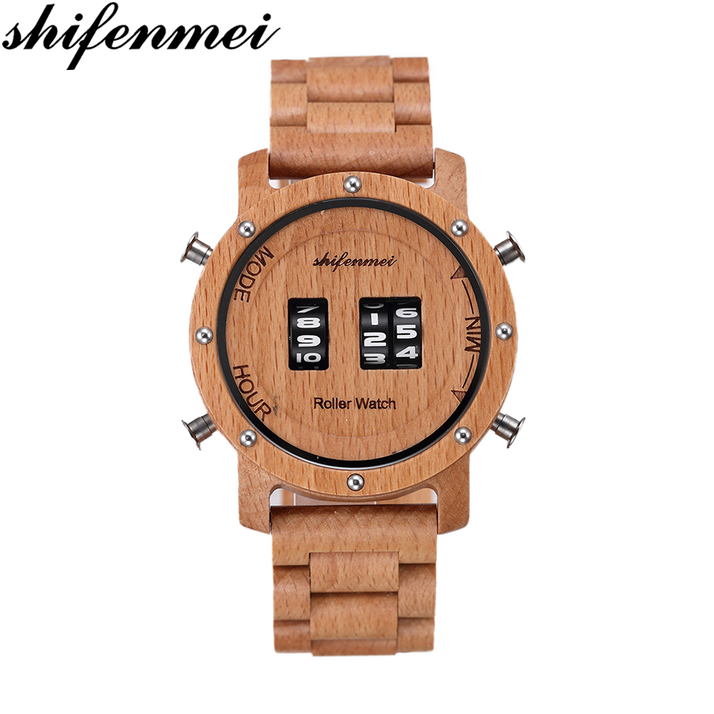 Shifenmei Wood Watches Men Top Brand Luxury Wooden Quartz Watch Digital  Male Relogio Masculino Casual Wristwatch Fashion Clock