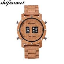 を男性 Shifenmei ウッド腕時計ロール軍事電子車輪時計高級腕時計時計 erkek kol saati