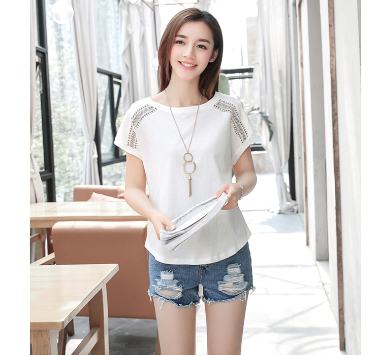 H02552d7dd1b34554bb66bd7b5858c688N - Cotton Summer Blouses Lace Batwing Sleeve Shirts For Womens Tops Shirts Plus Size Women Clothing Korean Pink Blusas Female