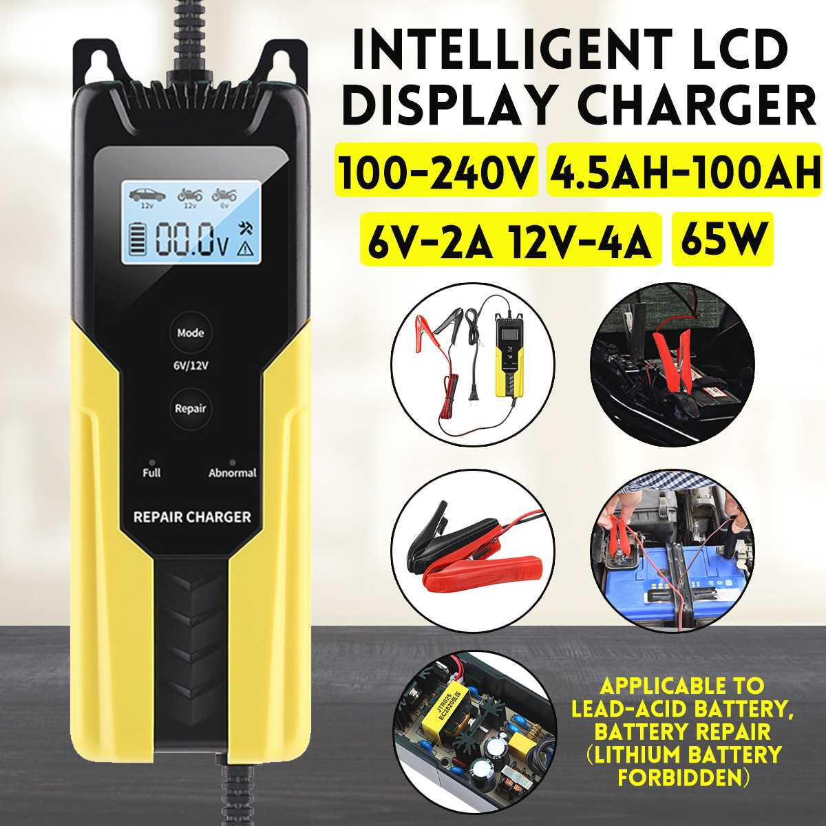 Automatic <font><b>Car</b></font> <font><b>Battery</b></font> Charger 12V Intelligent Auto Pulse Repair Maintainer Trickle 4.5-<font><b>100AH</b></font> Charging for Motorcycle To 6V 12 V image
