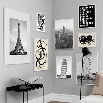 La torre de París de la ciudad de Nueva York nórdica Vintage Posters y huellas abstracto cuadro sobre lienzo para pared foto Decoración Para sala de estar