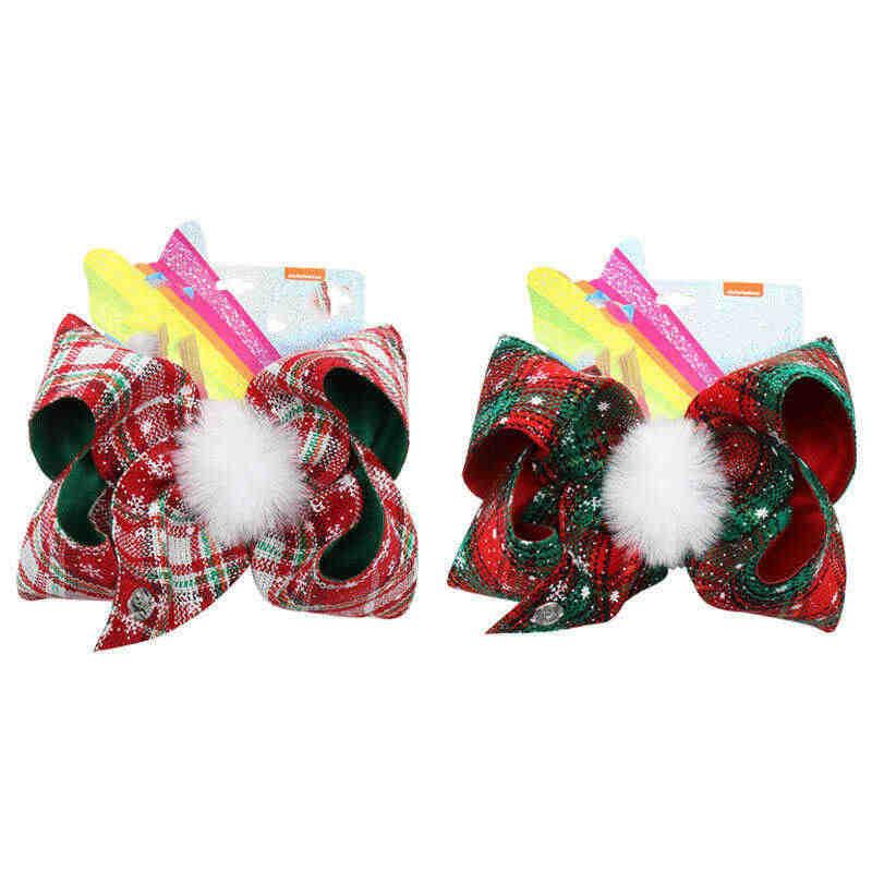 Lazos para el pelo nueva Bola de piel Jojo Navidad niñas grande 7 ''Hairgrips tartán Siwa
