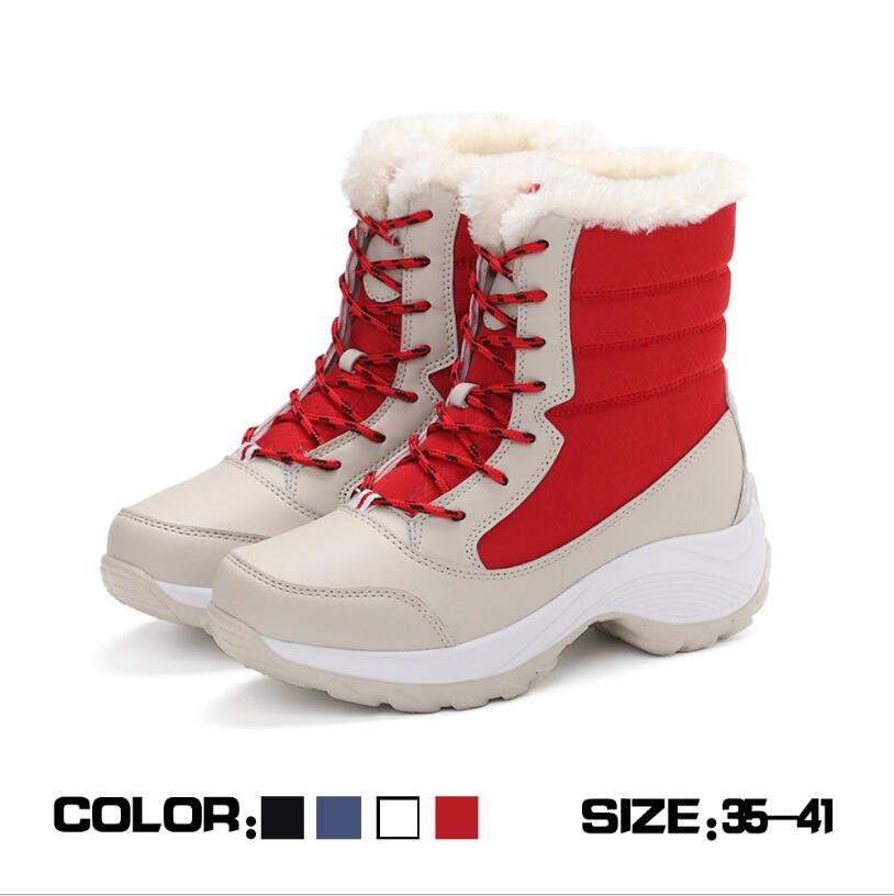 C696 Women Boots Waterproof Winter Shoes Women Snow Boots Platform Keep Warm Ankle Winter Boots With Thick Fur Heels Botas Mujer
