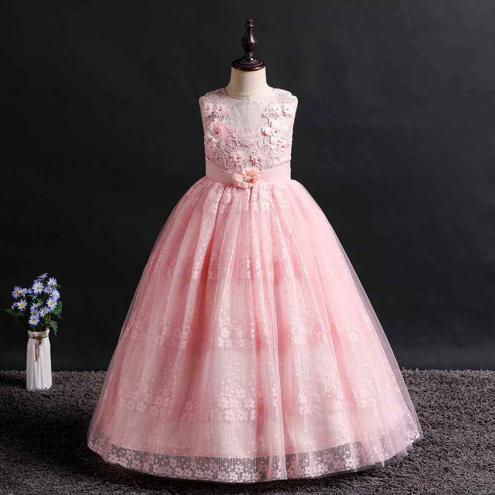 2019 Europe And America Sleeveless Middle And Large Girls Long Lace Piano Performance Princess Dress Children Wedding Dress Flow