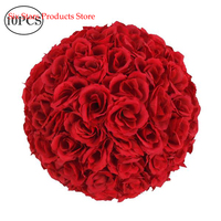 US In Stock 10Pcs 25CM Flower Balls Wedding Decoration Wine Red Christmas Wedding Party Decoration