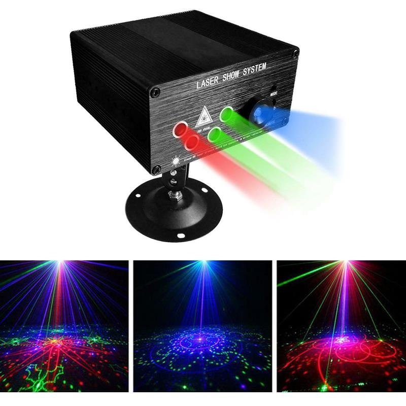 Image 3 - RGB Laser Projector Light Disco Ball Party Lights Strobe Light RGB LED Stage Lights For Christmas Home KTV Xmas Wedding Show-in Stage Lighting Effect from Lights & Lighting