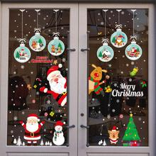 Christmass Window Stickers Decorations For Home Santa Claus Snowman Tree Christmas Stickers Sinterklaas Decoratie Kerst Raam