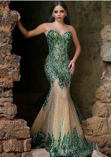 Green Muslim Evening Dresses Mermaid Sweetheart Tulle Appliuqes Pearls Islamic Dubai Saudi Arabic Long Formal Evening Gown