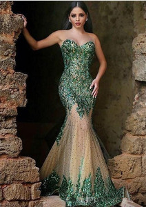Image 1 - Green Muslim Evening Dresses Mermaid Sweetheart Tulle Appliuqes Pearls Islamic Dubai Saudi Arabic Long Formal Evening Gown