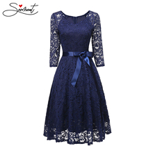 SERMENT Simple 2019 Autumn New European and American Womens Round Neck Long-sleeved Lace Evening Dress Suitable for Work
