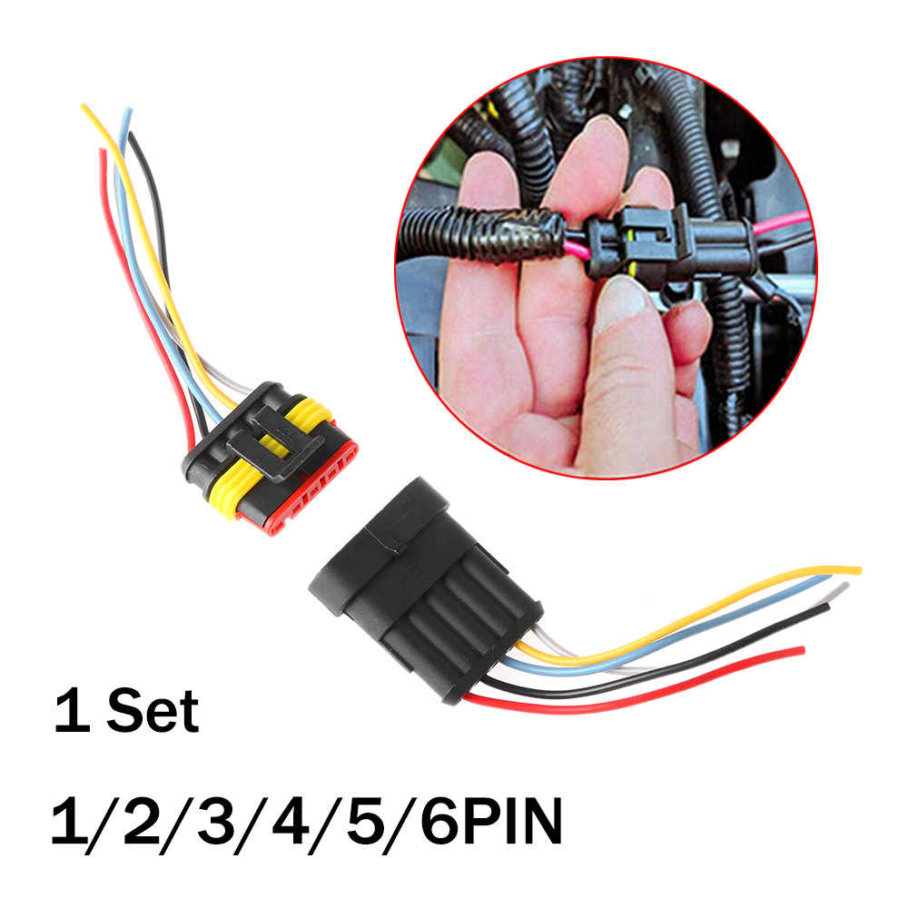 1 Sets/partijen Nieuwe 1/2/3/4/5/6 Pin Auto Waterdichte Elektrische Connector Hid Plug Met elektrische Draad Kabel Auto Truck Kabelboom