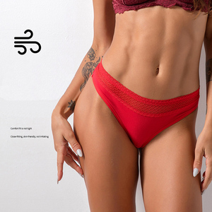 Image 2 - Lace Sexy Thongs Yoga Shorts Women Antibacterial Cotton Seamless Sports Thong Low Waist Sport Fitness Triangle Panties Underwear