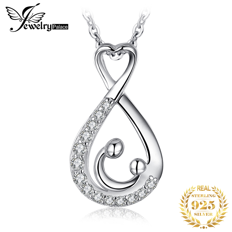 Mother Child Heart Silver Pendant Necklace 925 Sterling Silver Choker Statement Necklace Women Silver 925 Jewelry Without Chain