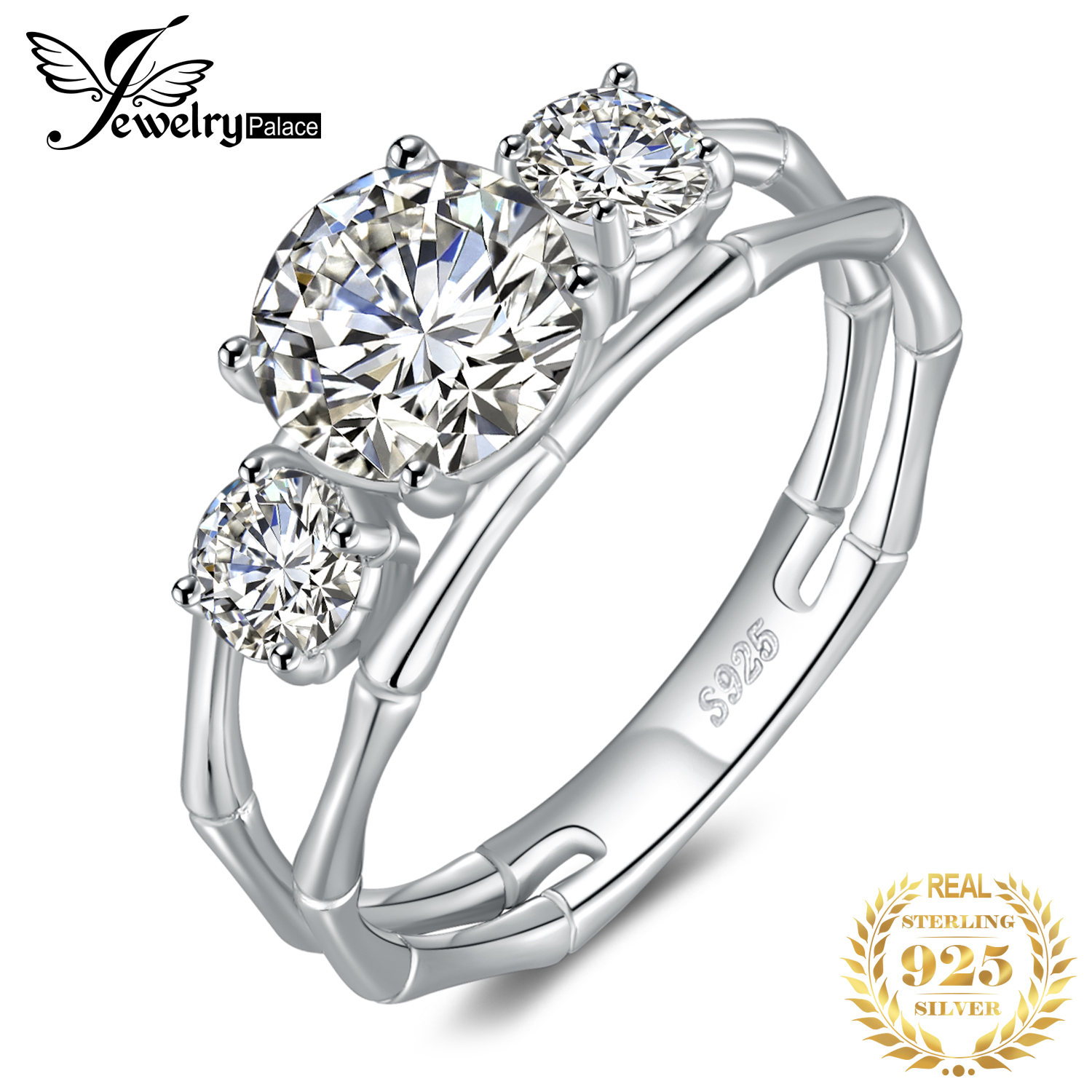 JewelryPalace 3 Stone Bamboo Bone Style Split Shank 2ct Cubic Zirconia Engagement Ring 925 Sterling Silver Rings For Women Gifts