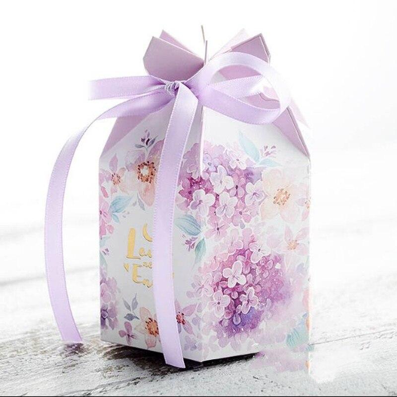 Nuovo 50pcs FAI DA TE Europea caramella di cerimonia nuziale casella di acquerello piccolo fresco contenitore di caramella viola caramella di cerimonia nuziale della caramella del sacchetto di imballaggi di carta box - 2