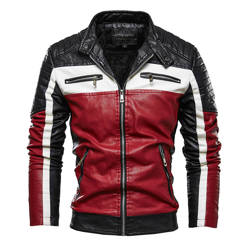 KIOVNO Men Winter Pu Leather Jackets Coats Stand Collar Fleece Lined Motorcycle Faux Leather Jackets Outwear For Male