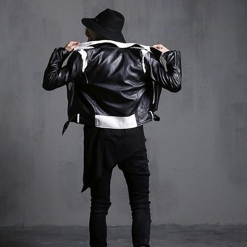 New Arrival Fashion Mens Punk Gothic Motor Leather Jacket Man Slim Fit Short Coat Outwear Black/white Biker Jackets Male 2xl