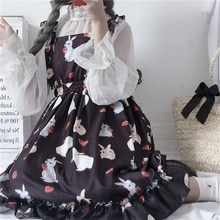 Womens Sweet Gothic A Line Dresses Chic Lady Kawaii Ulzzang Print Cute Strap Dress Female Ins Vintage Harajuku