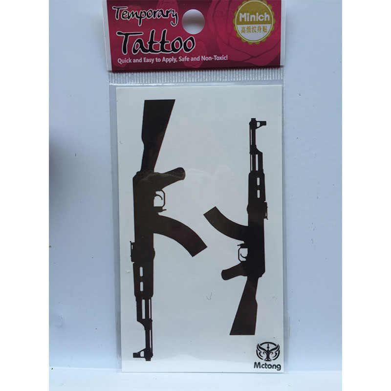 Klasik Hitam Gun AK Senapan Mesin Tatuajes Tangan Tatouage Tubuh Tahan Air Sementara Flash Faketattoo Stiker Kecil Taty