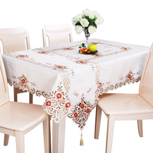 European Floral Embroidered Tablecloth Latest Elegant Hand Made Table Cloth Hollow Out Home Decorative Cover Available 1pc