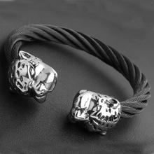 Granny Chic Fashion Stainless Steel Jewelry Accessories Men Wristband Cuff Double Tiger Head Women Bangles