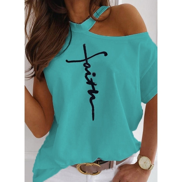 Plus Size Women Summer Letter Print T-shirt Sexy off shoulders o-neck Short-Sleeved Tshirt Fashion Lady Street Casual White Tops