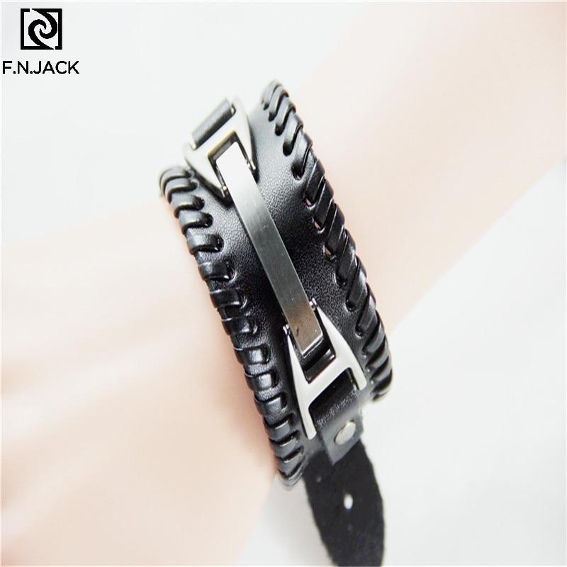 Men's Vintage Cowhide Bracelet Metal Woven Wide Leather Bangle Bracelet Arm Warmers Wrist Guard