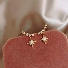 Mengjiqiao-pendientes de estrella de aguja para chica, aretes de mariposa para mujer, aretes de cereza