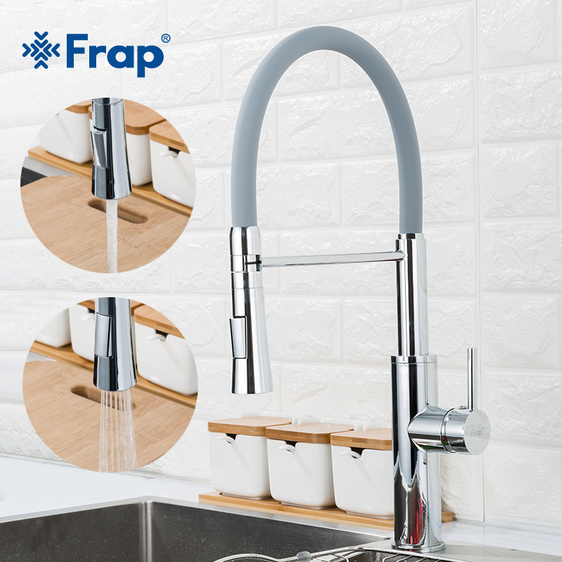 FRAP Kitchen Faucet Fashion Flexible Kitchen Sink Faucet Water Mixer 3 Color Faucet Taps 2 Way Spout Tapware Saving Water Mixer