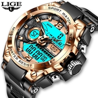 LIGE Marke Männer Digitale Uhr Shock Military Sport Uhren Mode Wasserdichte Elektronische Armbanduhr Mens Reloj Inteligente Hombre