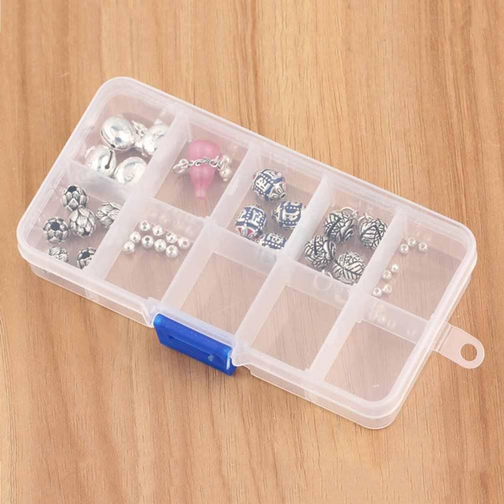 10 slots de plástico caixa armazenamento jóias caso artesanato organizador contas casa quarto organizador caixa tipo quadrado