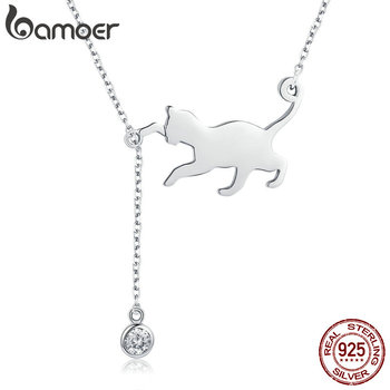 BAMOER Fashion Genuine 925 Sterling Silver Cute Pet Pussy Cat Chain Pendant Necklace for Women Jewelry SCN232 - discount item  30% OFF Fine Jewelry