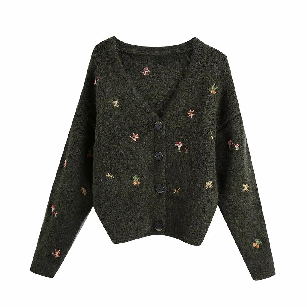 XNWMNZ Za women Vintage knit cardigan with embroidery Long sleeves V-neck ribbed trims Cardigan Female Elegant sweater Outerwear 7