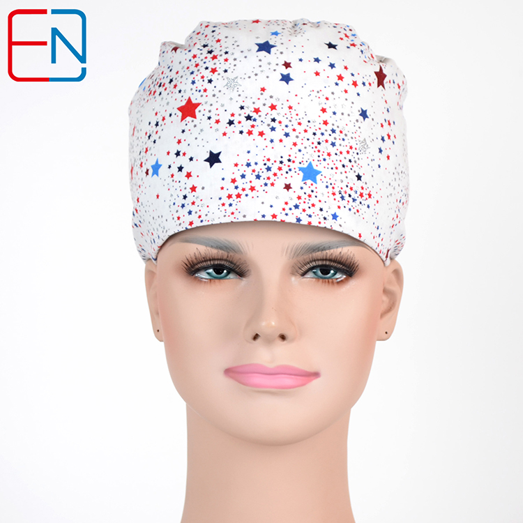 Women Surgical Caps In Pink With Colorful Hearts And Ribbion,women Medical Caps In 100% Cotton