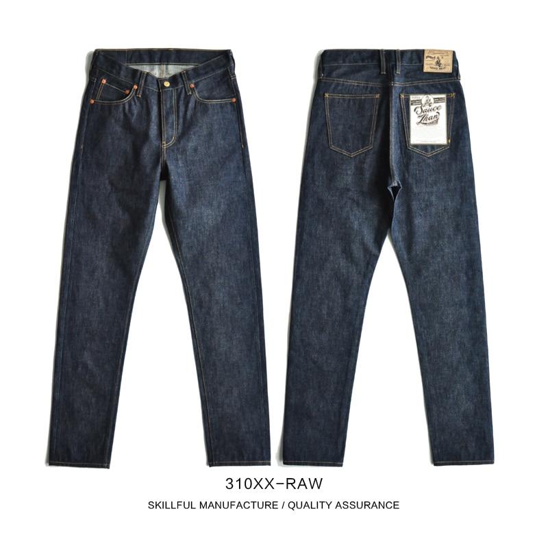 SauceZhan 310XX-RAW Mens Slim Fit Jeans Jean Selvedge Mens Jeans Brand Raw Denim Men Jeans Skinny Men Jeans Unsanforized Denim